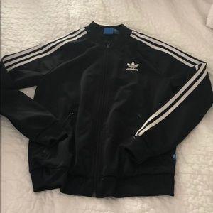 Black Adidas Bomber athletic jacket stripes